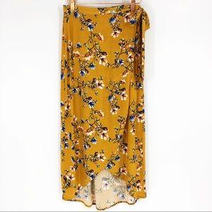 Band Of Gypsies Floral Gold Boho Lulu Wrap Skirt